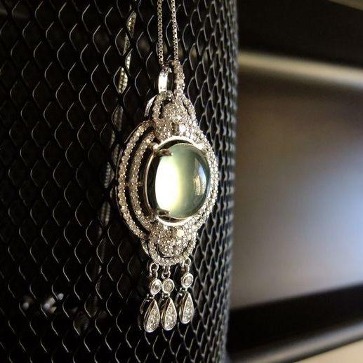 叶枫独家私藏 印度天然冰种葡萄石吊坠纯银微镶锆石送银项链转运