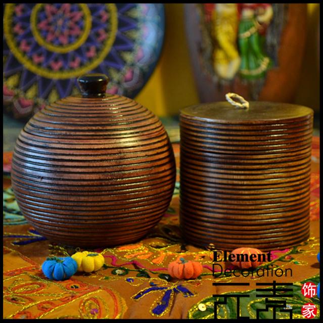 东南亚新中式原木茶叶罐 茶几摆件 实木手工雕刻 装饰盒 单个价
