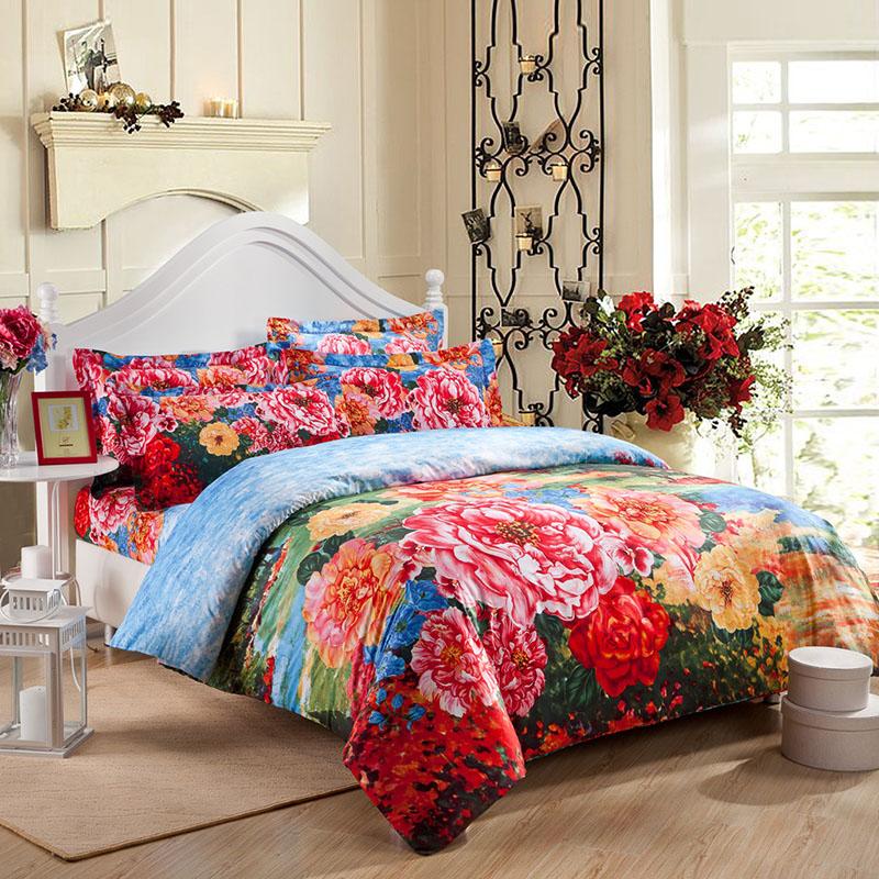 全棉家纺大版花四件套婚庆 大红床上用品 纯棉活性全国特价包邮