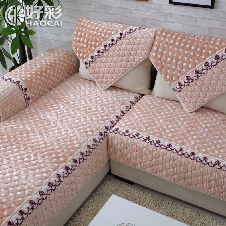 好彩欧式法兰绒沙发垫短毛绒布艺沙发坐垫防滑加厚皮沙发巾套罩盖