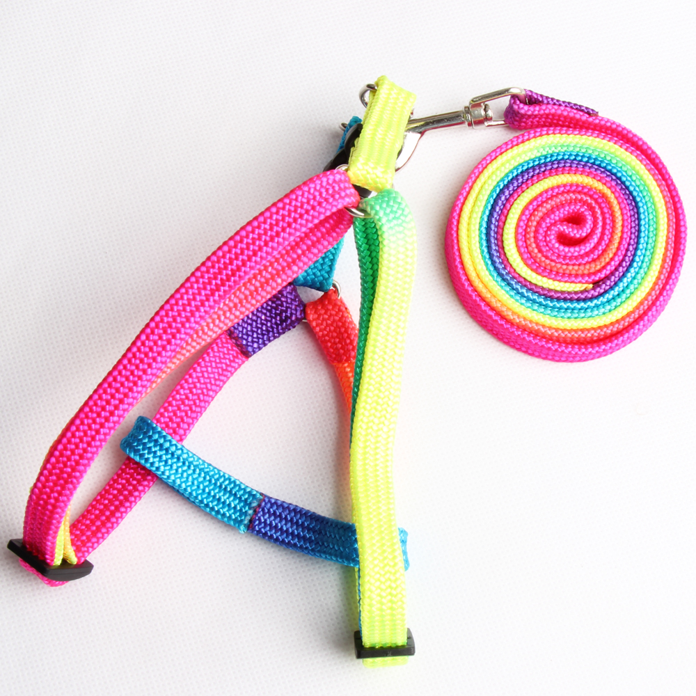 【米折网专享】胸背式七彩牵引绳小狗牵引带泰迪贵宾狗绳子包邮