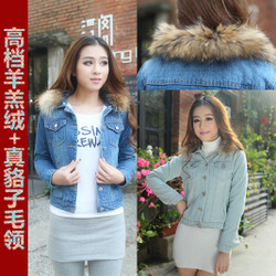 Korean style slim long sleeve denim jacket raccoon fur collar thick padded jacket short style