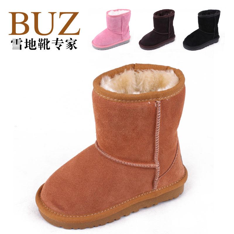 детские сапоги BUZ 5281 Для молодых мужчин, Девушки, Унисекс Зима Кожа быка Без шнуровки Искусственный плюш с длинным ворсом Средняя высота сапог