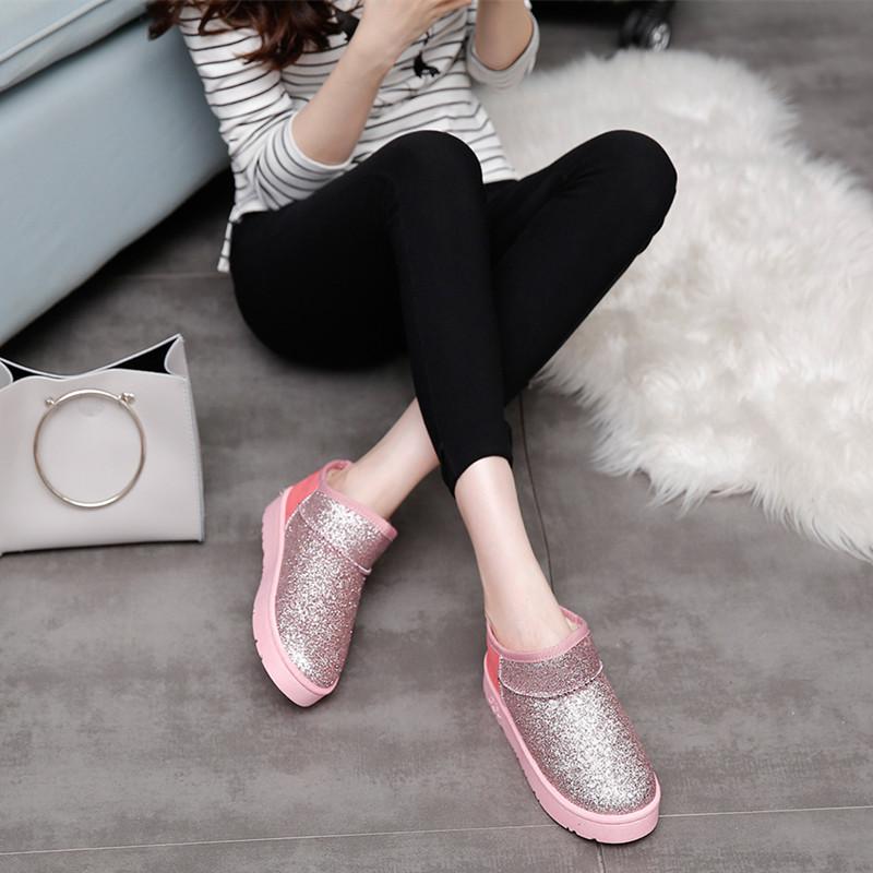 雪地靴女短筒 韩版潮学生平底加厚短靴 加绒防滑女靴冬季保暖棉鞋