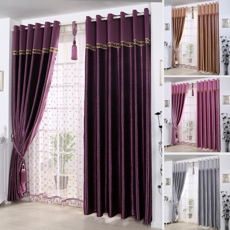 Purple Butterfly textile Satin embossed thickened full shade cloth bedroom curtain custom curtains finished curtains
