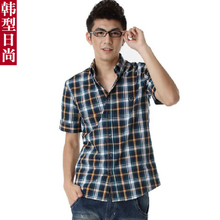 2013 summer men's shirt Korean version of cultivating wild cotton plaid short-sleeved shirt plaid England men's shirts