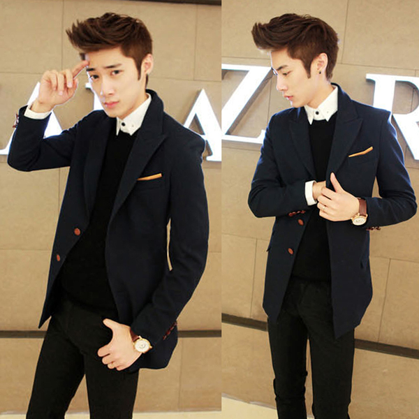 2014 fall and winter clothes new Korean version of the Slim small suit men's suit and long sections of it tide men's jackets