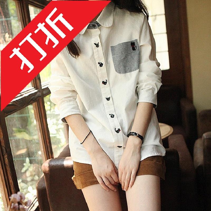 женская рубашка 2013秋季新款女装刺绣小猫棉麻透气舒服女式白衬衫女长袖女款衬衣