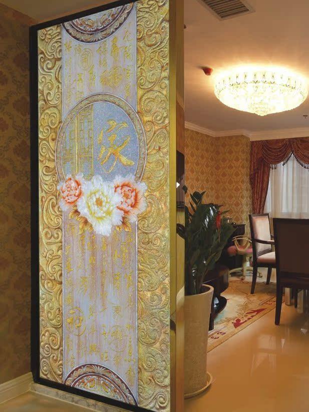 好地方深雕现代工艺玻璃艺术玻璃玄关屏风隔断玻璃背景墙*富贵之家