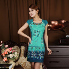 Lan smoke retro short paragraph cheongsam improved fashion summer 2013 new Slim thin Chinese cheongsam dress summer