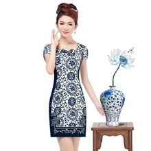 Lan smoke blue and white porcelain Chinese style cheongsam dress summer fashion 2013 new Miss Xia Ji improved cheongsam retro