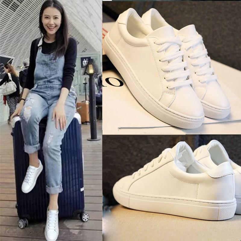 高圆圆明星同款小白鞋女真皮系带板鞋韩版平底单鞋休闲运动鞋女鞋