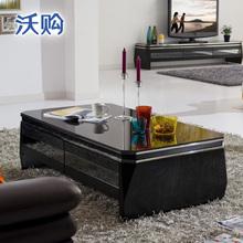 沃购简约现代钢化玻璃茶几 小户型长方形客厅电视柜组合套装黑色图片