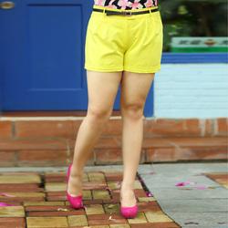 [新品超低价]采多宝大码女装2013夏装新款时尚显瘦百搭休闲短裤 有腰带