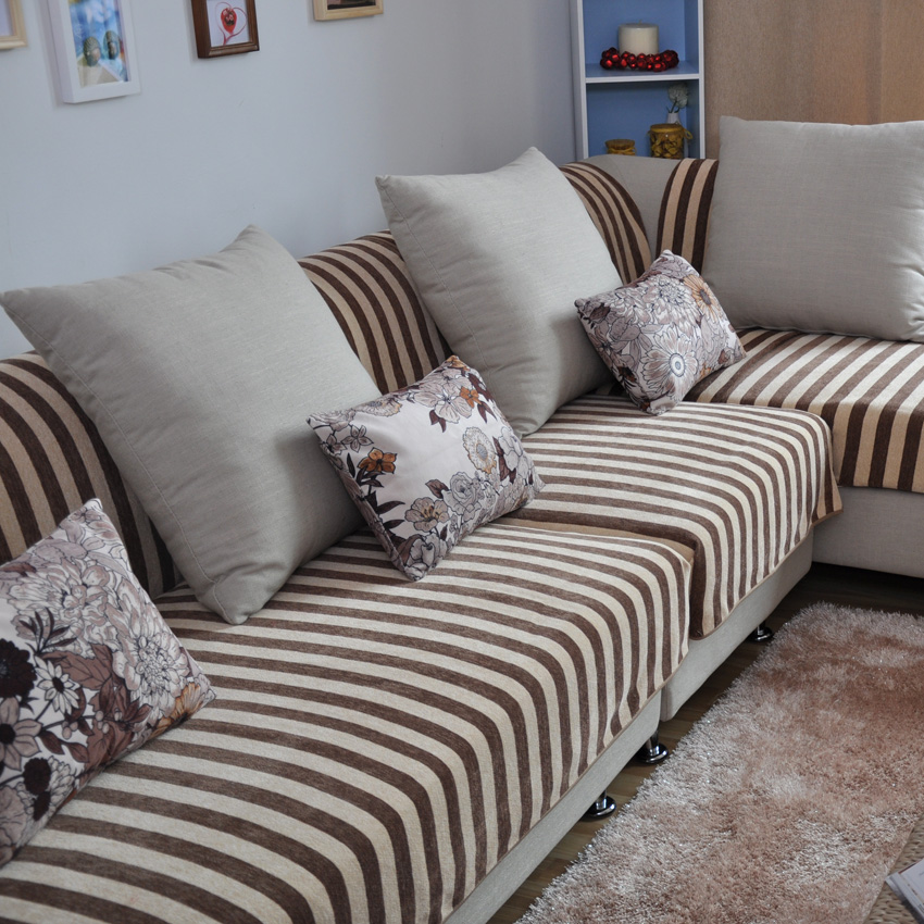 瑞吉時尚花絨沙發墊坐墊布藝沙發巾布料防滑沙發罩沙發套定做條紋圖片