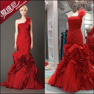 Свадебное платье Вера Ванг Вера Ванг Свадебные платья весна 2013 новый винный красный красный одно плечо платье материал