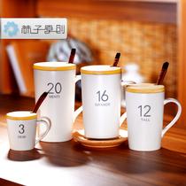 【柿子kaki】亚光盎司数字马克杯创意陶瓷牛奶杯子配盖子木勺包邮