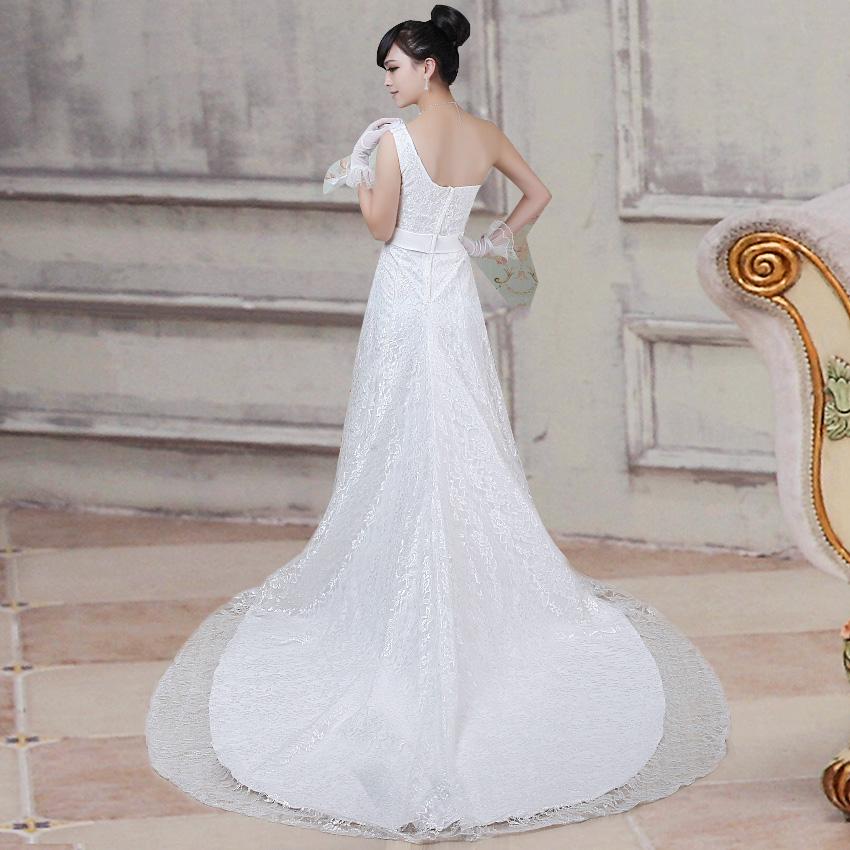 2013新款婚纱礼服 花朵公主 时尚单肩甜美收腰鱼尾 hunsha 修身