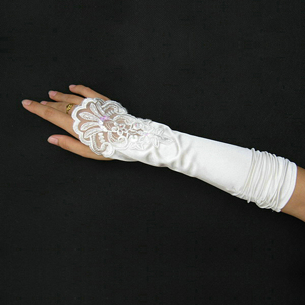 The new 2013 crescent married long white gloves fingerless gloves bud silk embroidered wedding dress accessories gloves 16