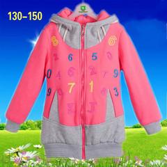 15淑女孩子中大童儿童装时尚秋冬季数字长款棉外套拉链衫女装卫衣