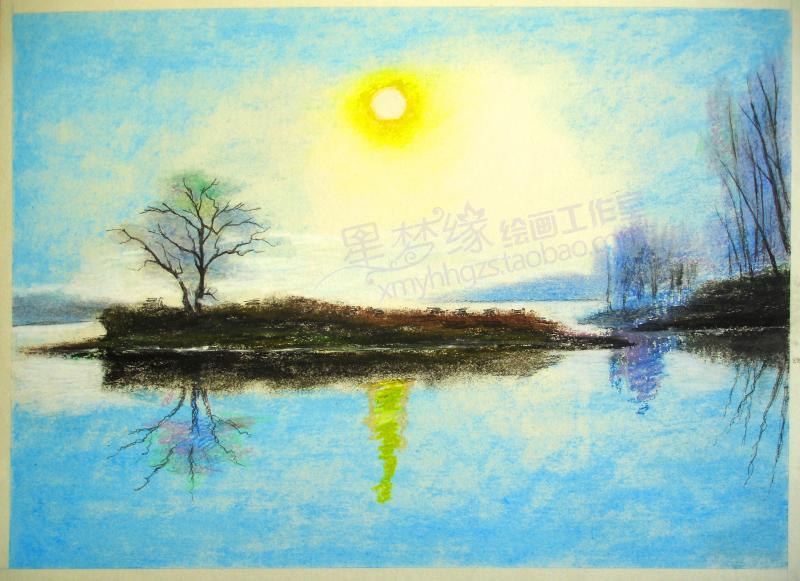 彩色铅笔风景画代画色粉风景代画纯手绘无框画装饰画色粉笔加彩铅图片