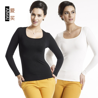 2 T-shirt free shipping 2014 autumn female pilling modal low collar long-sleeved shirt bottoming solid tight thin female