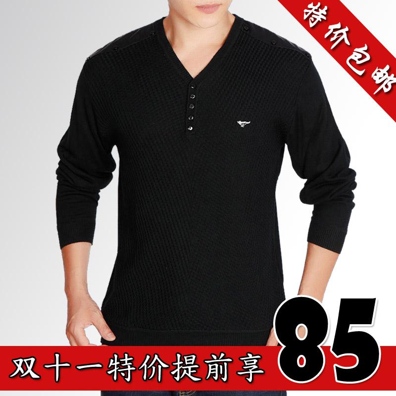 七匹狼t恤长袖男t恤2013秋冬男装男V领体恤衫正品休闲羊毛T恤加绒