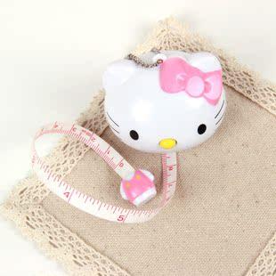 满9.9包快递5650韩国风格全新时髦心爱Kitty猫主动伸缩卷尺卡通公仔拉尺