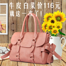 2013 new shoulder diagonal bag leather handbag bow section European and American style fashion leather tide