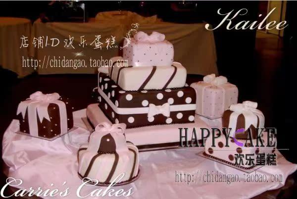 礼盒造型翻糖婚礼蛋糕 甜品区主蛋糕订制 专业翻糖蛋糕