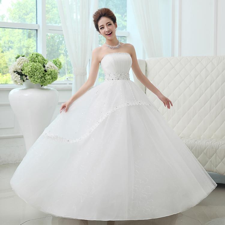 韩版高腰婚纱2013新款甜美蓬蓬裙抹胸齐地高腰孕妇显瘦韩版婚纱