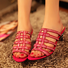 Rhinestone Peep OL lady sandals Roman sandals drag a new word in the heel women shoes with thick mushroom Street
