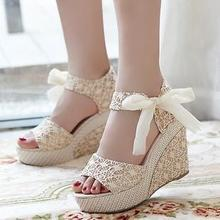 Roman princess summer fish head mixed colors sandals sub-slope with muffin thick crust waterproof bandage linen