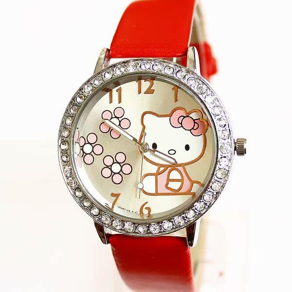 手表女韩国时尚正品儿童手表中学生女孩腕表kt猫卡表三朵梅花卡通
