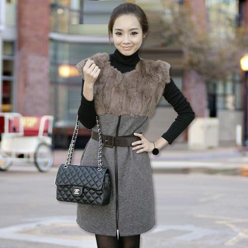 2014秋装新款韩版女装OL修身显瘦兔毛打底毛呢秋冬连衣裙背心裙