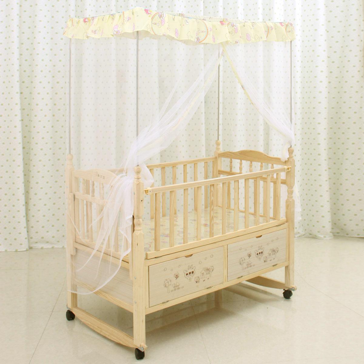 小时候实木无漆婴儿床摇篮床 BB宝宝童床 四角柱式蚊帐 柜式