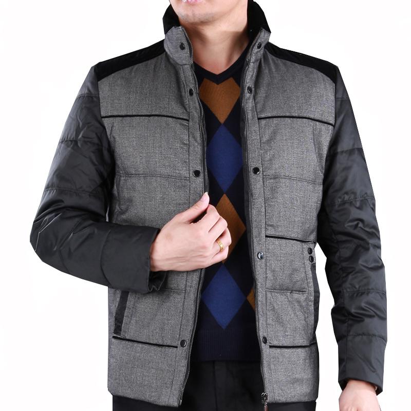 2013冬新款正品中年加厚防冻条纹拼色羽绒服正品步森男装宽松外套图片