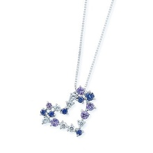 Spot tsutsumi Japan bought jewelry heart-shaped Tanzania stone sapphire pendant platinum collarbone female chain necklace