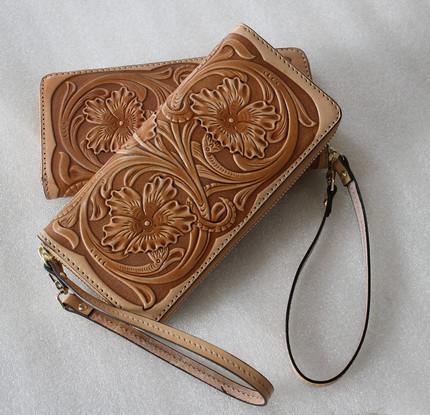 新款限时促销比格手工皮雕钱包拉链订制真植鞣革皮包定制手拿包