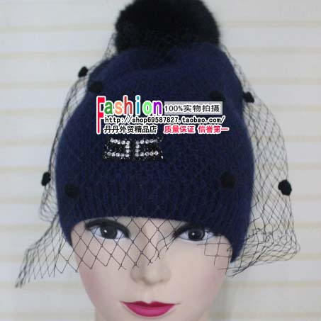 The new European and American trade mesh gauze hat lady hat winter hat