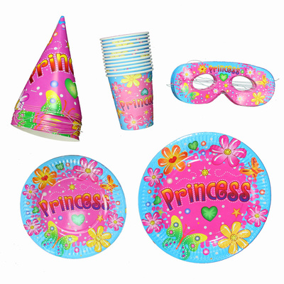 Fantasy Birthday Party Supplies Party cups paper plates Tray princess birthday hat goggles fitted paragraph 12