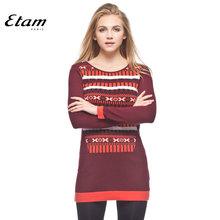 限时3折 艾格 Etam 冬季 多图案拼接圆领毛衣13011723309图片