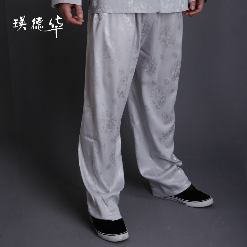 Ying Tak Wah middle-aged men spring clothing suit pants casual pants for men, Silk Clothing men, clothing men shorts