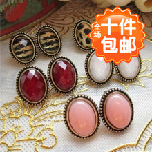 0007 Korean version of the European and American jewelry wholesale earrings small earrings retro sexy leopard small oval earrings female