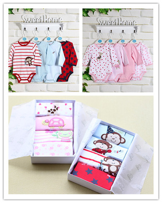 Authentic Kate Si Catasy cotton long-sleeved Romper Triangle 4-piece sets of boxes can sell