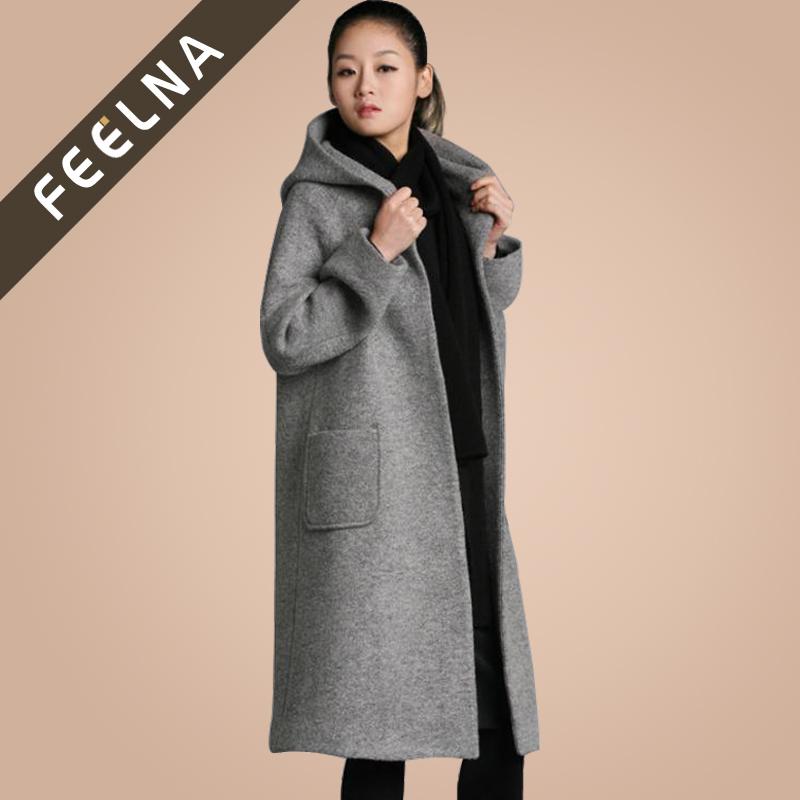 Длинное зимнее пальто женское