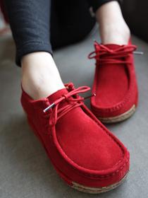 新款女鞋 韩国款前系带增高松糕底休闲女鞋真皮低帮鞋平底鞋