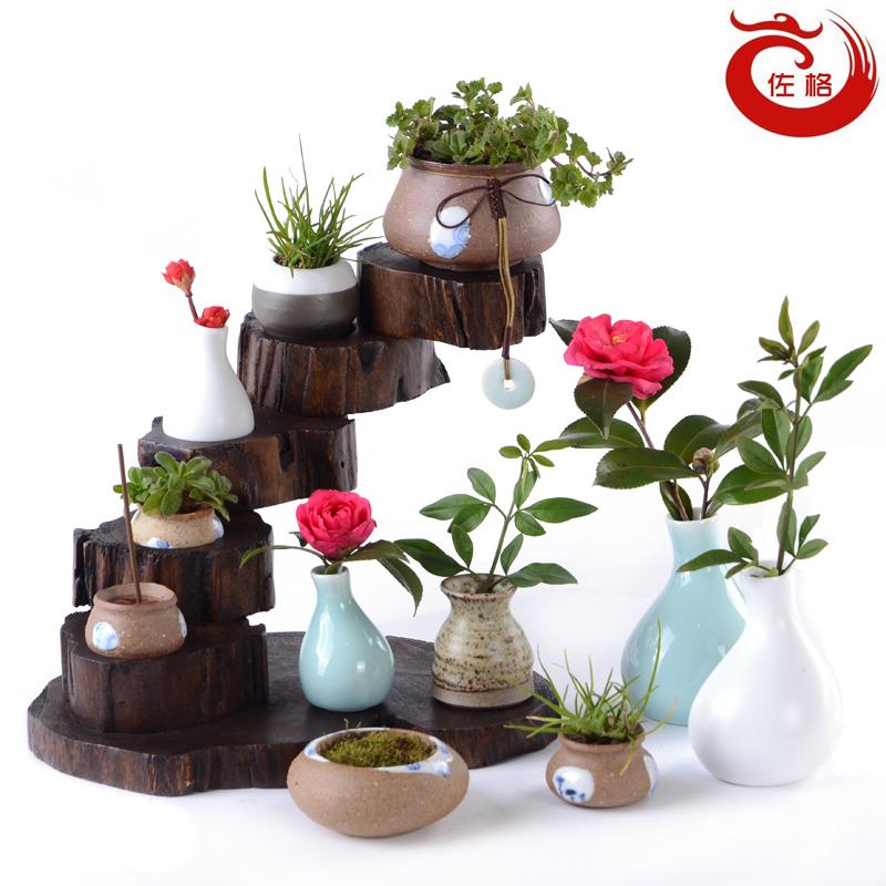 佐格茶具 手工陶瓷 陶土小花瓶 茶道小花器 花插 个性摆件小花器