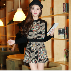 Korean style long sleeve chiffon fancy dress