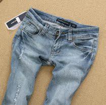 品质女裤2013新款浅色水洗磨白磨破紧身显瘦九分牛仔小脚裤铅笔裤